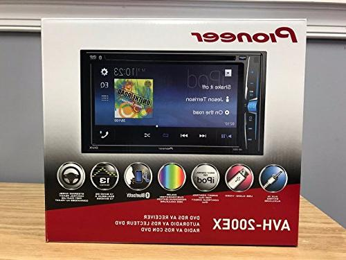 Pioneer 2 AVH-200EX DVD/MP3/CD Touchscreen Bluetooth W/Toyota Tacoma Double Din Radio Installation Dash Mount Kit License Camera