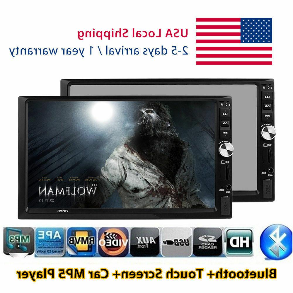 """Double 2Din 7"""" Touch Bluetooth Car Stereo MP3 MP5 Player HD"""