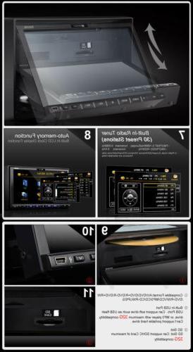 """Double 7"""" Multimedia Car Stereo DVD Radio In Dash DIN CD SD"""