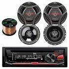 "JVC Car AUX CD AM FM Radio , 50FT Speaker Wire, JVC 6.75"" an"