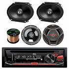 "KDR370 AM FM CD Radio, JVC 6.5"" and 6x8"" 2Way Car Speakers,"