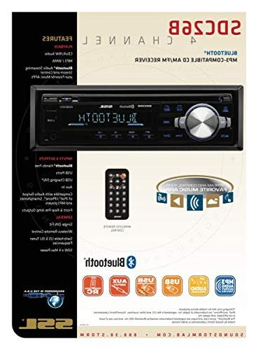 Sound Stereo CD Single Din, Bluetooth and Hands-Free Player, CD, USB AUX Input, Receiver