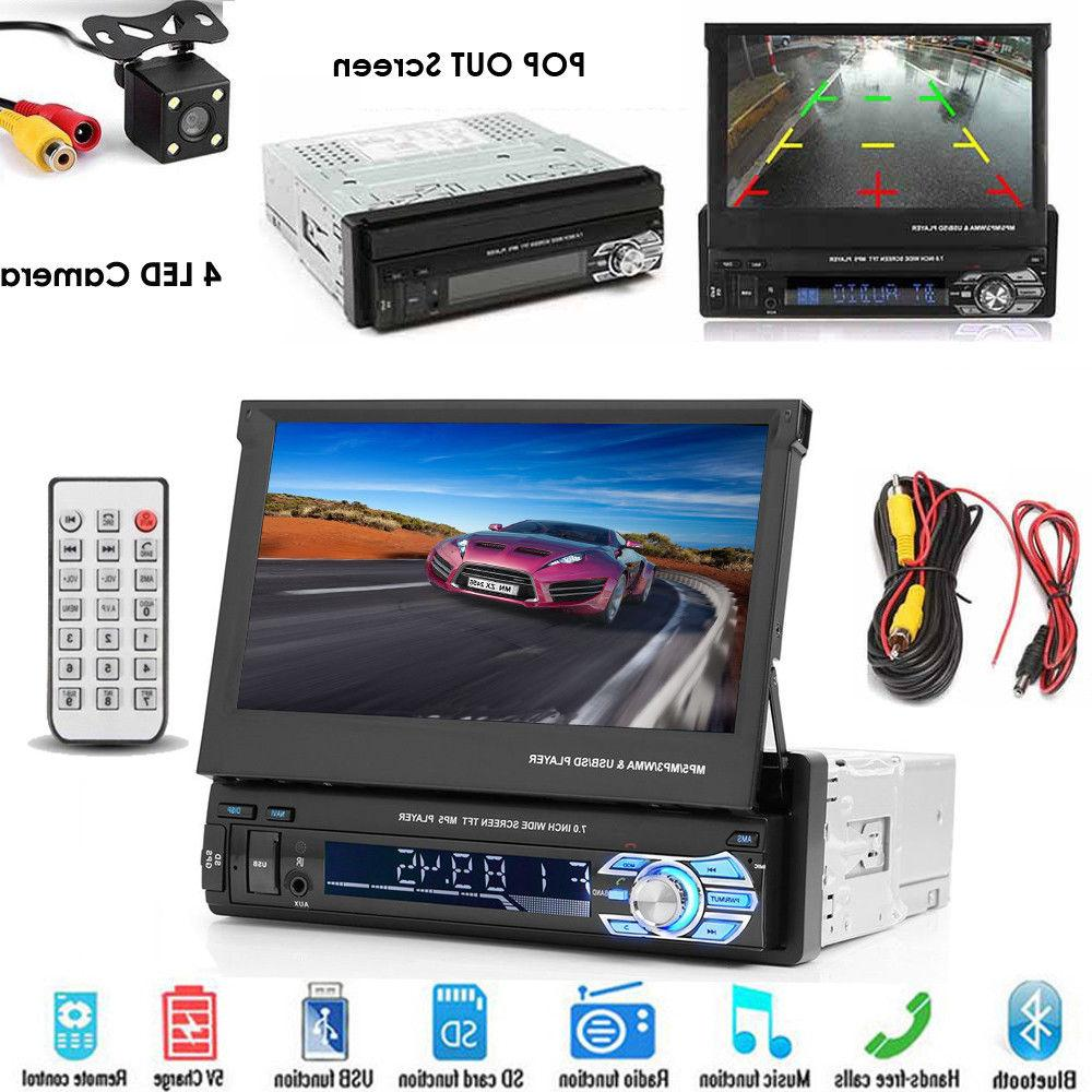 Single 1Din Flip Car Stereo Radio Touch SD AUX