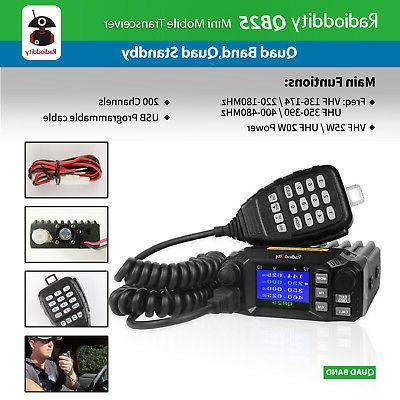 Radioddity QB25 Pro Mobile Transceiver VHF/UHF Quad 25W, Antenna