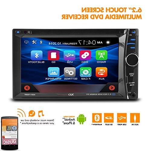 XOVision Car DVD Player - 6.2 Touchscreen LCD - 4 Channels DVD Video, DivX, CD AM, FM - miniSD - USB - Input -
