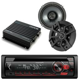 "Pioneer Car Mp3 CD AUX Radio,4 Kicker 2Way 6.5"" Coaxial Spea"
