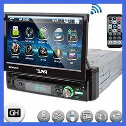Single DIN Head Unit Receiver - In-Dash Car Stereo with 7""