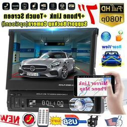 "Single 1Din 7"" Flip Car Stereo Radio Player Touch Screen BT"