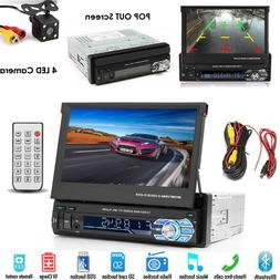 """Single 1Din 7"""" Flip Stereo Car Radio Player Touch Screen BT"""