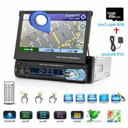 "Single 1DIN 7"" GPS Flip Car Stereo Radio CD Player Touch Scr"