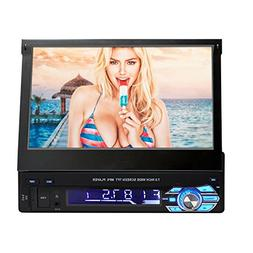 Single Din in Dash 7-Inch HD LCD Flip Touchscreen Car Stereo