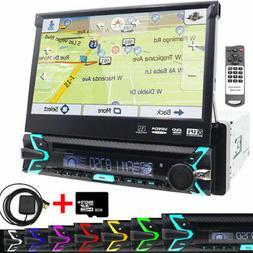 "Single Din GPS Navigation Radio Car Stereo 7"" Touchscreen CD"
