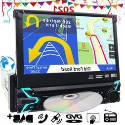HD GPS 1Din Flip Out Car Stereo Radio DVD mp3 Player Bluetoo