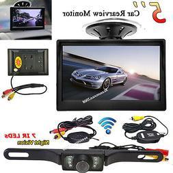 "Vehicle Wireless HD Night Vision Backup Camera +5"" TFT LCD C"