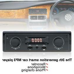 Vintage LED Car Radio MP3 Player Stereo TF SD USB AUX Classi