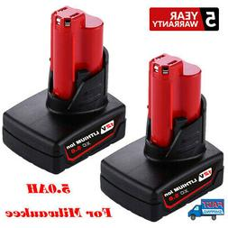 2 PACK 12V For Milwaukee M12 48-11-2460 Lithium Ion 48-11-24